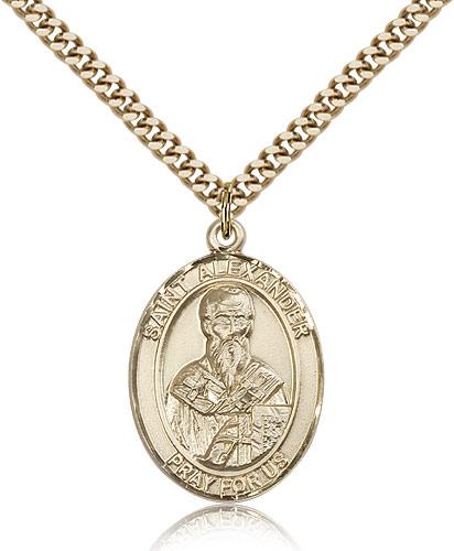 14kt Gold Filled St Alexander Sauli Medal Necklace Pendant 1 x 3/4