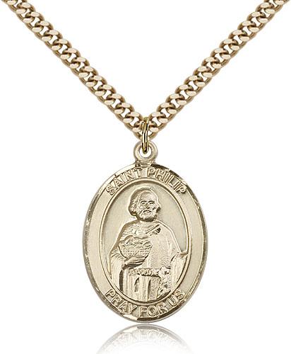 14kt Gold Filled St Philip Neri Medal Necklace Pendant 1 x 3/4