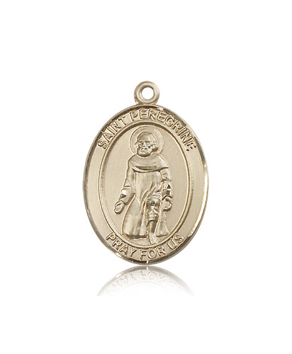 14kt Solid Yellow Gold St Peregrine Laziosi Medal Pendant 1 x 3/4