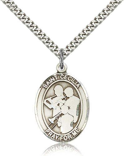 """Sterling Silver St Cecilia / Marching Band Pendan For Men 24"""" Curb Chain - Pendant 1 x 3/4"""