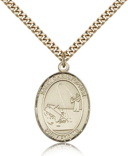 14kt Gold Filled St Christopher Medal Necklace Pendant 1 x 3/4