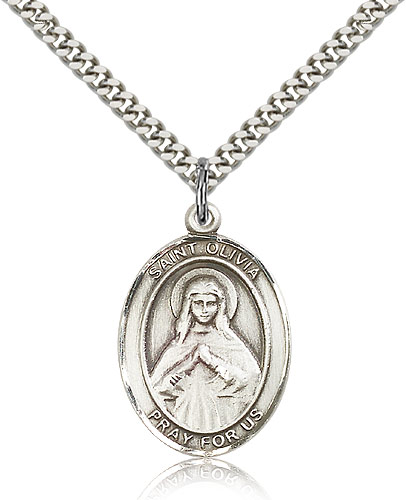 "Sterling Silver St Olivia Medal Necklace For Men & Women 24"" Curb Chain - Pendant 1 x 3/4"