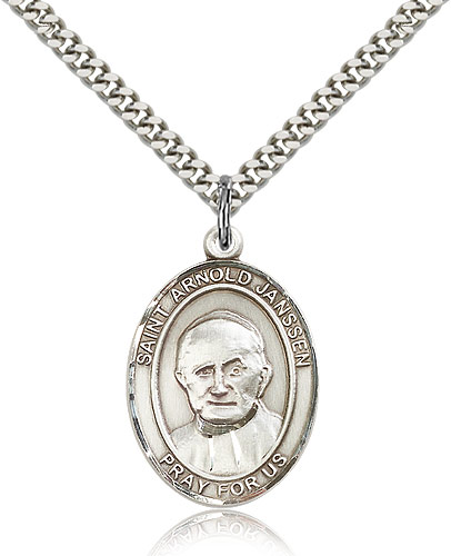 "Sterling Silver St Arnold Janssen Medal Necklace For Men & Women 24"" Curb Chain - Pendant 1 x 3/4"