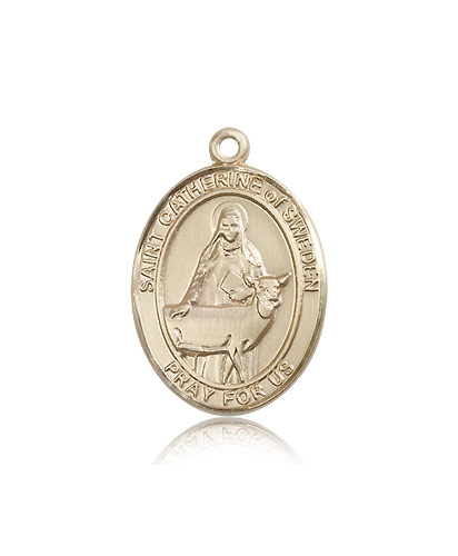 14kt Solid Yellow Gold St Catherine of Sweden Medal Pendant 1 x 3/4