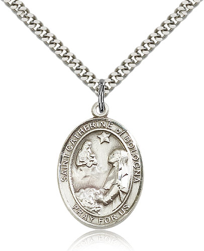 "Sterling Silver St Catherine of Bologna Medal Necklace For Men & Women 24"" Curb Chain - Pendant 1 x 3/4"