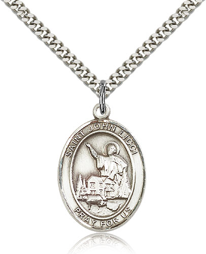 """Sterling Silver St John Licci Medal Necklace For Men & Women 24"""" Curb Chain - Pendant 1 x 3/4"""