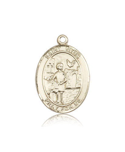 14kt Solid Yellow Gold St Vitus Medal Pendant 1 x 3/4