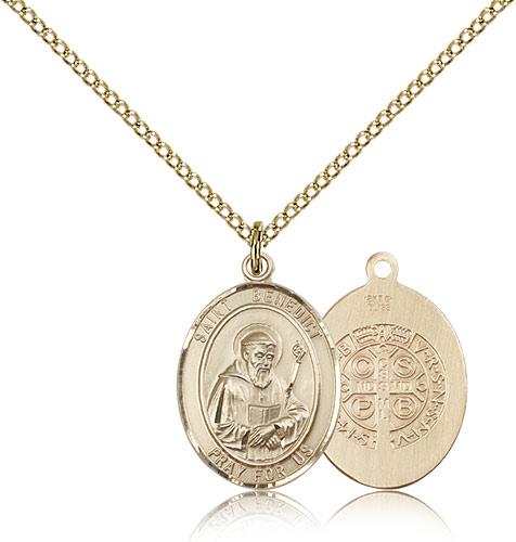 14kt Gold Filled St Benedict Medal Necklace For Women 18