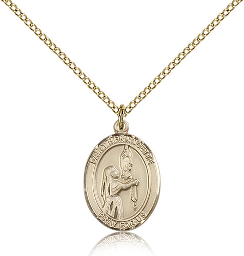 "14kt Gold Filled St Bernadette Medal Necklace For Women 18"" Curb Chain - Pendant 3/4 x 1/2"