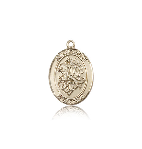 14k yellow gold st george medal pendant 8040kt rosarycard 14kt solid yellow gold st george medal pendant 34 x 12 aloadofball Image collections