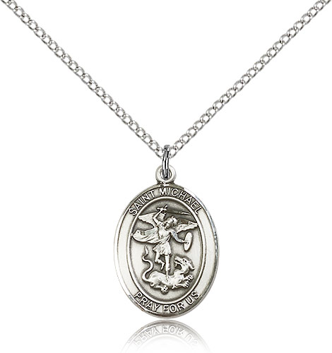 """Sterling Silver St Michael the Archangel Medal Necklace For Women 18"""" Curb Chain - Pendant 3/4 x 1/2"""