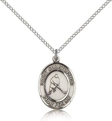 "Sterling Silver St Christopher/Ice Hockey Medal Necklace For Women 18"" Curb Chain - Pendant 3/4 x 1/2"