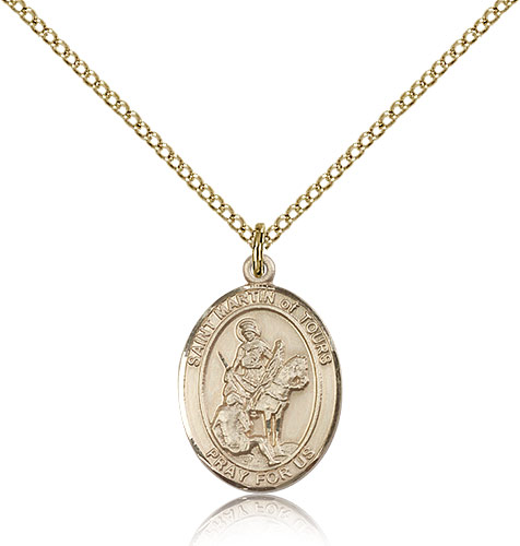"""14kt Gold Filled St Martin of Tours Medal Necklace For Women 18"""" Curb Chain - Pendant 3/4 x 1/2"""