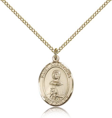 14kt Gold Filled St Anastasia Medal Necklace For Women 18