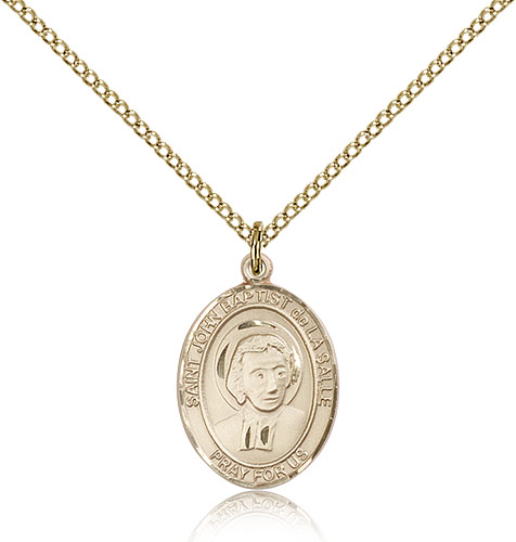 "14kt Gold Filled St John Baptist de La Salle Medal Necklace For Women 18"" Curb Chain - Pendant 3/4 x 1/2"