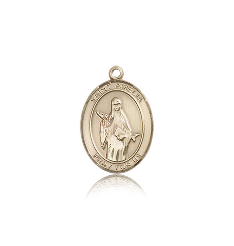 14kt Solid Yellow Gold St Amelia Medal Pendant 3/4 x 1/2