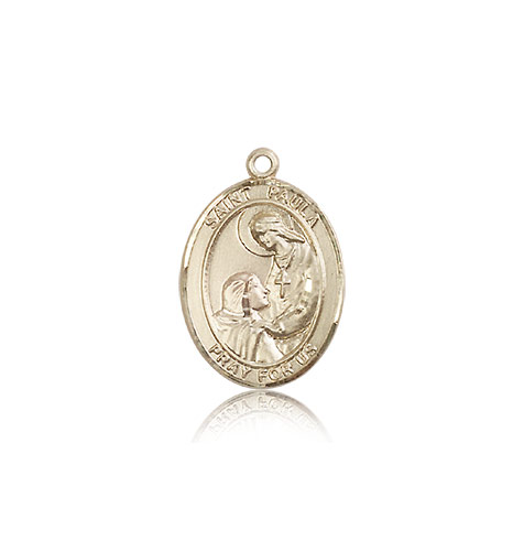 14kt Solid Yellow Gold St Paula Medal Pendant 3/4 x 1/2
