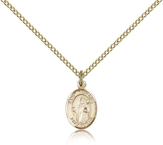 "Small 14kt Gold Filled St Benedict Medal Necklace For Women & Children & Children 18"" Curb Chain - Charm Pendant 1/2 x 1/4"