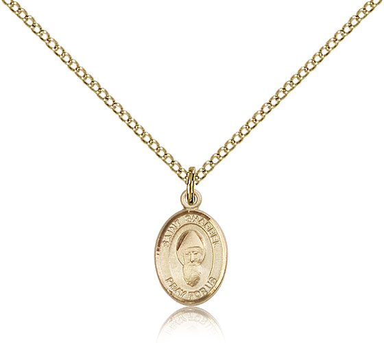 "Small 14kt Gold Filled St Sharbel Medal Necklace For Women & Children & Children 18"" Curb Chain - Charm Pendant 1/2 x 1/4"