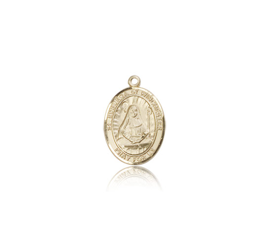 Small 14kt Solid Yellow Gold St Edburga of Winchester Medal Charm Pendant 1/2 x 1/4