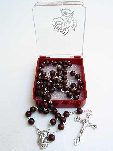 5mm Round Dark Wood Rosary