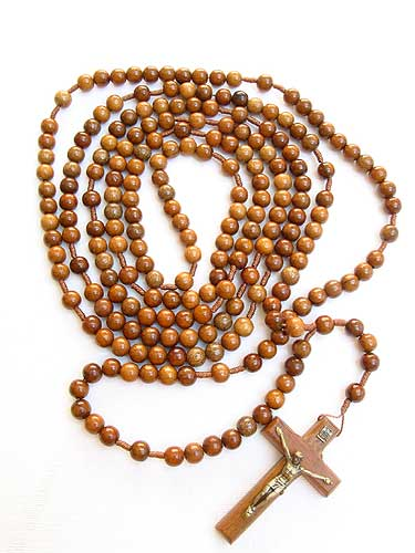 20 Decade Wooden Rosary Beads on Strong Cord