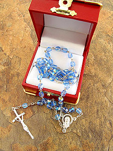 Blue Glass Bead Papal Rosary GS035