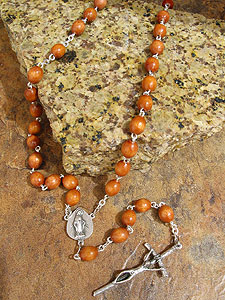 8mm Oval Wood Bead Rosary