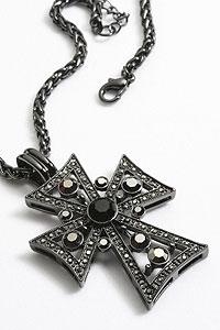 A2123P-2 Antique Cross Pendant with Black Jewels