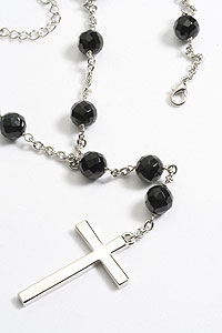 A2136N Black Onyx Crystal Bead Necklace with Platinum Plated Chain