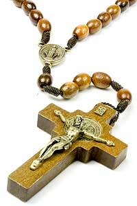 Brown Wood St Benedict Rosary on Cord 4633-7-1