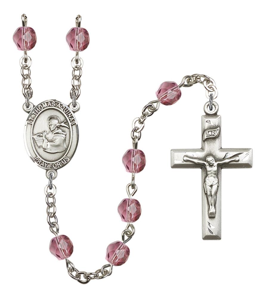 St Thomas Aquinas Rosary Beads Glass Birthstone Colors Rosarycard
